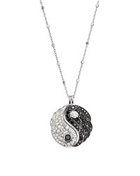 Bloomingdale's White And Black Diamond Yin And Yang Pendant Necklace In 14K White Gold 18 White Black