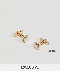 Designb Silver And Gold Square Cufflinks And Lapel Pin In 2 Pack Exclusive To Asos