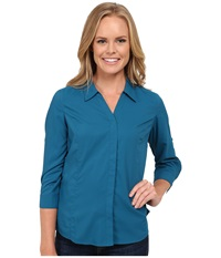 Royal Robbins Expedition Stretch 3 4 Sleeve Peacock Women's Long Sleeve Button Up Multi