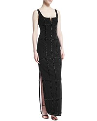 Cd Greene Sleeveless Jeweled Windowpane Gown Size 14 Black
