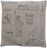 K Studio New York City Pillow Small 18 X 18 Gray
