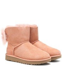 Ugg Fluff Bow Mini Ankle Boots Pink