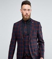 Noose And Monkey Super Skinny Suit Jacket In Check Red