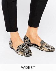 Asos Myra Wide Fit Flat Shoes Snake Multi
