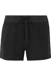 James Perse Lyocell And Linen Blend Shorts Black