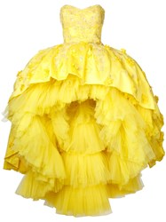 Mikael D. Strapless Hi Low Gown Yellow Orange
