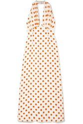 Emilia Wickstead Polka Dot Silk Halterneck Maxi Dress Ivory