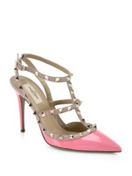 Valentino Patent Leather Rockstud Pumps Ivory Green Pink