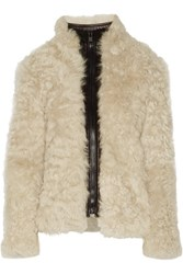 Helmut Lang Tigrado Leather Trimmed Shearling Coat Ivory