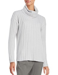 Lord And Taylor Merino Wool Ribbed Turtleneck Sweater Light Grey Heather