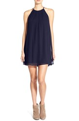 Junior Women's Lush Pleat Detail Chiffon Trapeze Dress Navy