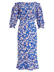 Saloni Gracie Off The Shoulder Feather Print Silk Dress Blue White