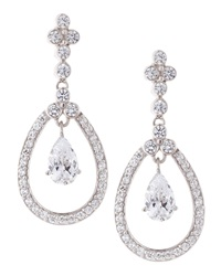 Fantasia Cz Pave Oval Chandelier Earrings