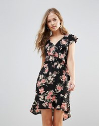 Oh My Love Floral Frill Detail Pephem Dress Large Nude Floral Multi