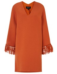 Derek Lam Orange V Neck Fringed Kimono Dress