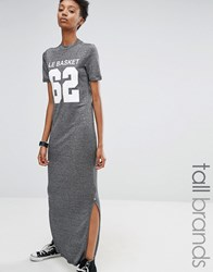 Noisy May Tall Motif Metallic Jersey Maxi T Shirt Dress Grey