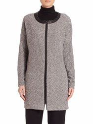 Three Dots Seamed Leather Trimmed Jacket