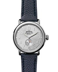 Shinola 41Mm Runwell Men's Textured Leather Watch Silver Navy