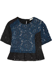 Michael Van Der Ham Daisy Cropped Cotton Blend Crocheted Lace Top Blue