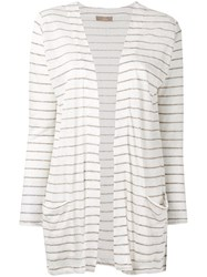 Cruciani Striped Cardigan Women Linen Flax 42 White