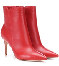 Gianvito Rossi Leather Ankle Boots Red