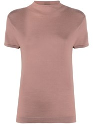N.Peal Mock Neck Cashmere T Shirt Brown
