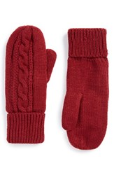 Junior Women's Bp. Cable Knit Mittens Red Burgundy