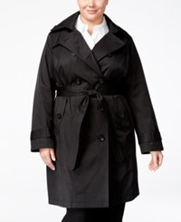 London Fog Plus Size Belted Raincoat Black