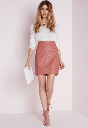Missguided Faux Leather Mini Skirt Pink Pink