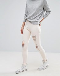 New Look Ripped Skinny Jeans Shell Pink