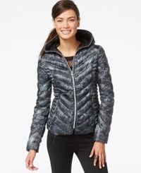 Laundry By Shelli Segal Printed Packable Down Puffer Coat Grey White