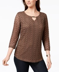 Jm Collection Crochet Lace Keyhole Top Created For Macy's Dark Caramel