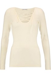 Autumn Cashmere Lace Up Ribbed Merino Wool Blend Top Ivory
