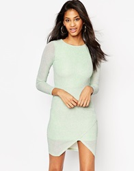 Asos Glitter Bodycon Asymmetric Hem Dress Mint