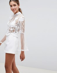 Love Triangle Lace Crop Top With Scallop Neck Detail White