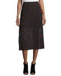 Mcq By Alexander Mcqueen Pleated Polka Dot Midi Skirt Red Black Red Black
