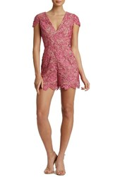 Dress The Population Women's Juliette Plunge Romper Magenta Nude