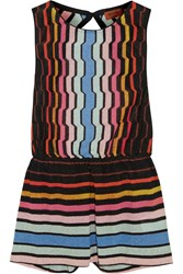 Missoni Metallic Crochet Knit Playsuit Black
