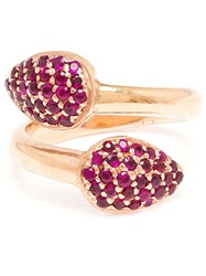 Jagga 18K Rose Gold And Ruby Leaf Ring Red