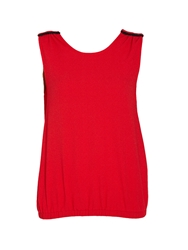 Morgan Sleeveless Top With Open Slit Back Red