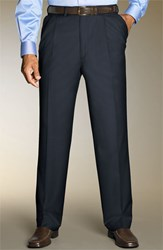 Men's Big And Tall Santorelli 'Luxury Serge' Double Pleated Wool Trousers Medium Blue