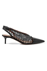 Altuzarra Peppino Fishnet And Leather Slingback Pumps Black