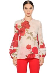 Giambattista Valli Roses Printed Silk Georgette Shirt