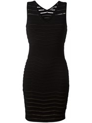 Twin Set Ribbed Detail Fitted Dress Black