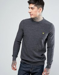 Lyle And Scott Crew Neck Boiled Wool Jumper Grey