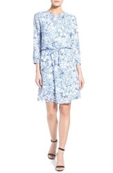 Women's Nydj 'Lauren' Print Pleat Back Fit Solution Blouson Dress Fanciful Floral
