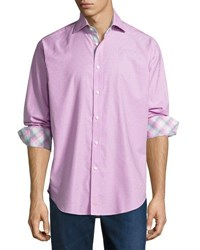 Thomas Dean Check Print Long Sleeve Sport Shirt Pink