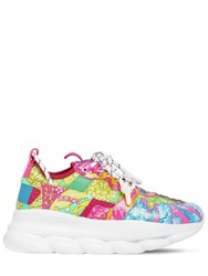 Versace Chain Reaction 2 Printed Mesh Sneakers Pink Blue