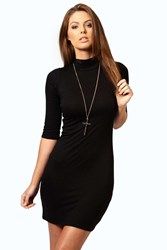 Boohoo High Neck 3 4 Sleeve Bodycon Dress Black