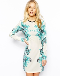 Asos Bodycon Mini Dress In Mirror Floral Print